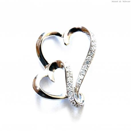 Wisiorek srebrny  dwa serca