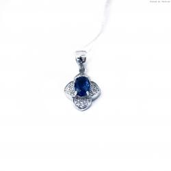 Wisiorek srebrny owalny  niebieski