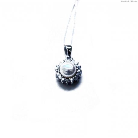 Wisiorek srebrny okrągły  z perłą