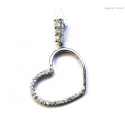 Wisiorek srebrny serce z cyrkoniami