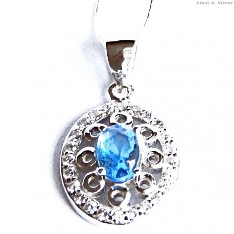 Wisiorek srebrny owalny niebieska cyrkonia