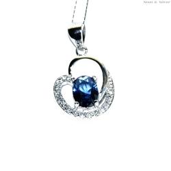 Wisiorek srebrny serce niebieska cyrkonia