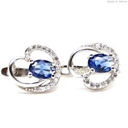 Kolczyki srebrne serca niebieska cyrkonia