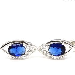 Kolczyki srebrne łezka niebieska cyrkonia