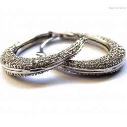 Kolczyki srebrne z cyrkonią owalne