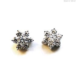 Kolczyki srebrne kwiat z cyrkoniami