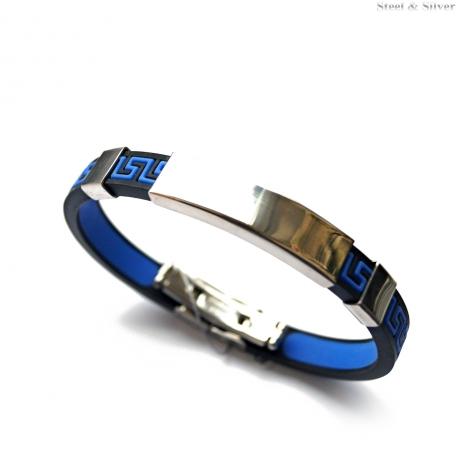 Bransoletka stalowa kauczukowa czarno - niebieska