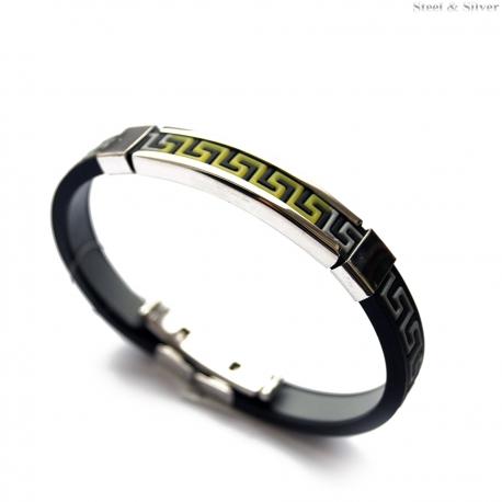 Bransoletka stalowa kauczukowa czarna z zielonym greckim wzorem