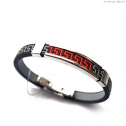 Bransoletka stalowa kauczukowa czarna z czerwonym greckim wzorem