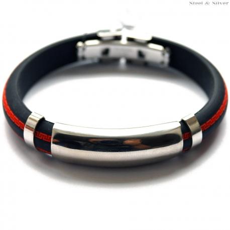 Bransoletka stalowa kauczukowa czarno - czerwona