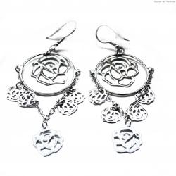 Kolczyki srebrne wiszące róże