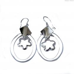Kolczyki srebrne wiszące owalne
