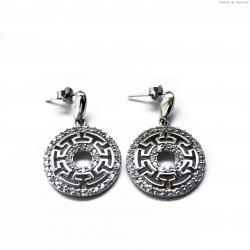 Kolczyki srebrne wzór grecki i cyrkonie
