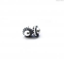 Kolczyki srebrne okrągłe z perłą