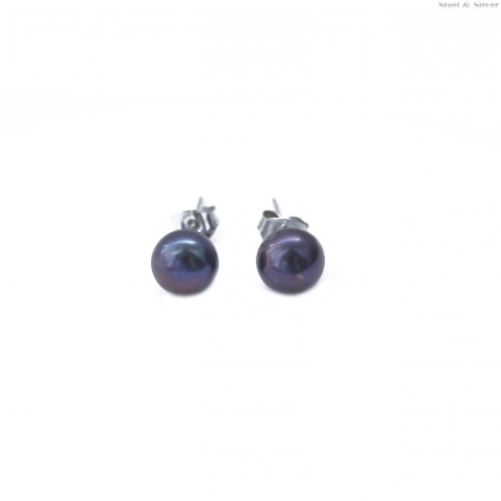 Kolczyki srebrne kulki perła fioletowa