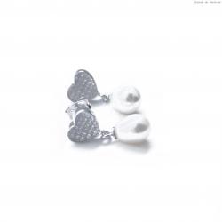 Kolczyki srebrne łezka z perłą