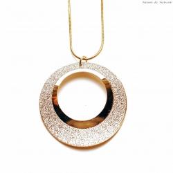 Naszyjnik stalowy błyszczący okrągły złoty