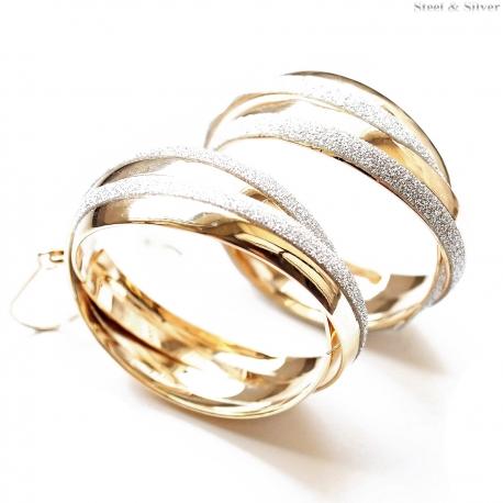 Kolczyki stalowe błyszczące koła złote